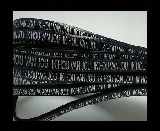 Real Flat Leather-5MM-IK HOU VAN JOU-silver-Dark Blue