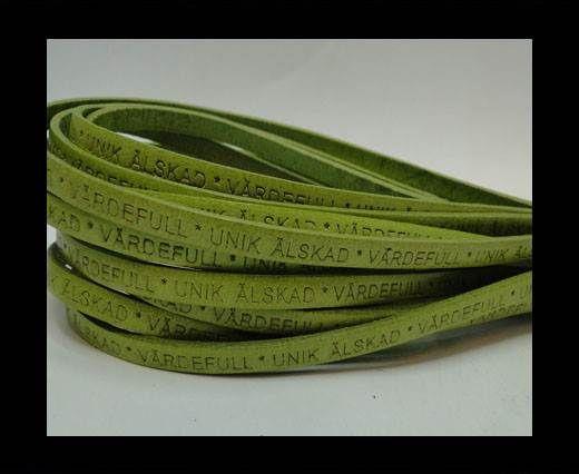 Real Flat Leather-LEV SKRATTA ÄLSKA-5mm-lime
