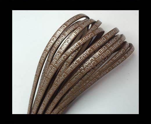 Real Flat Leather-CARPIDIEM-medium brown with silver