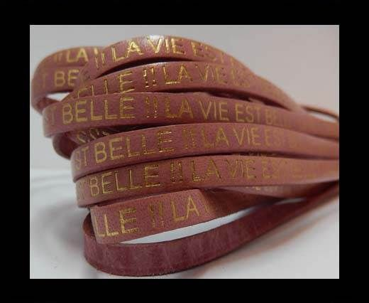 Real Flat Leather-LA VIE EST BELLE - Pink with Gold