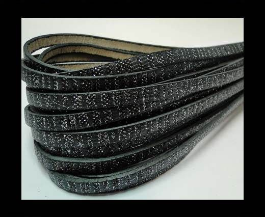 Real Flat Nappa Leather-5mm-Black with glitter