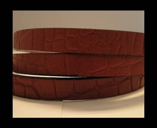 Real Leather Croco Print - Brick Red-10mm