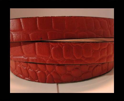 Real Leather Croco Print - Dark Red-10mm