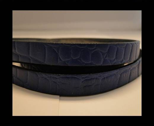 Real Leather Croco Print - Blue-10mm