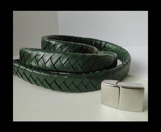 Real Nappa Flat Woven Cords - 15 mm - Green