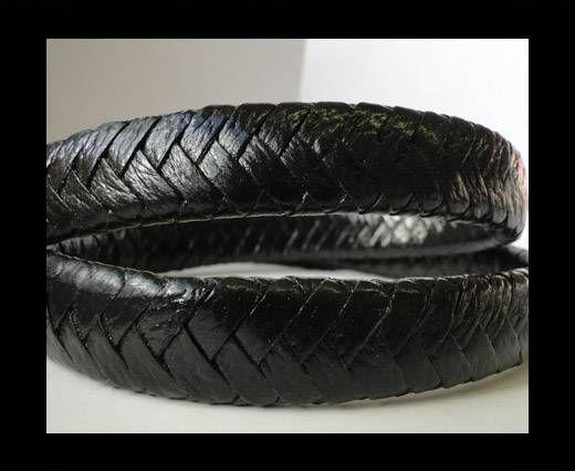 Real Nappa Flat Woven Cords - 15 mm - Shiny Dark Brown