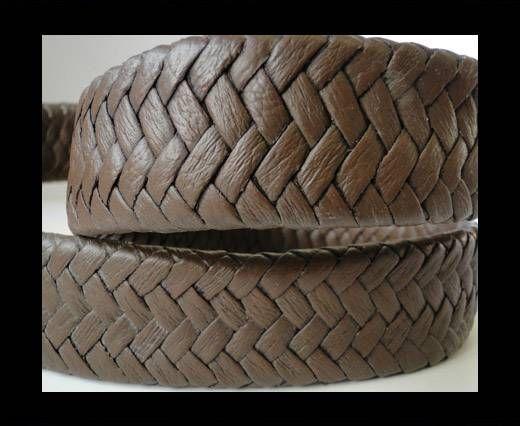 Real Nappa Flat Woven Cords - Dark Brown - 25mm