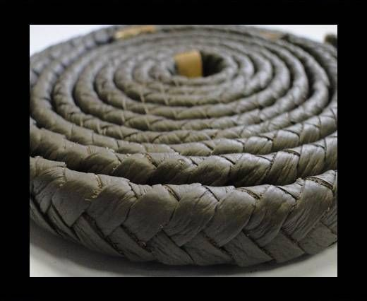 Real Nappa Flat Woven Cords - 15 mm - Chocolate brown