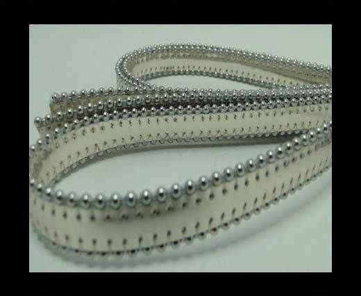 Real Nappa Flat Leather with steel balls chains - 10mm - platinu