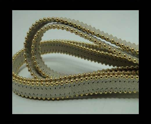 Real Nappa Flat Leather with gold plated ball chains-10mm-Beige