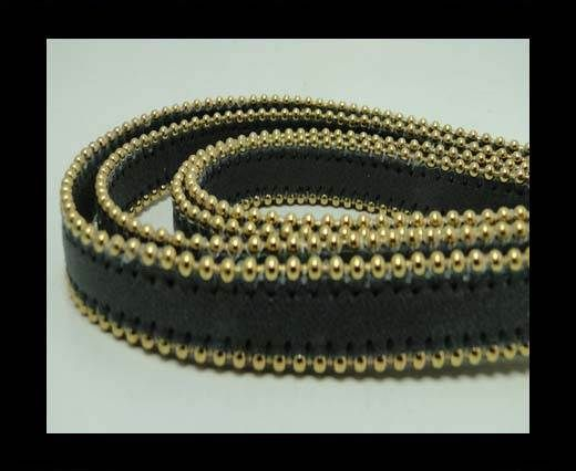 Real Nappa Flat Leather with gold plated ball chains-10mm-Dark G