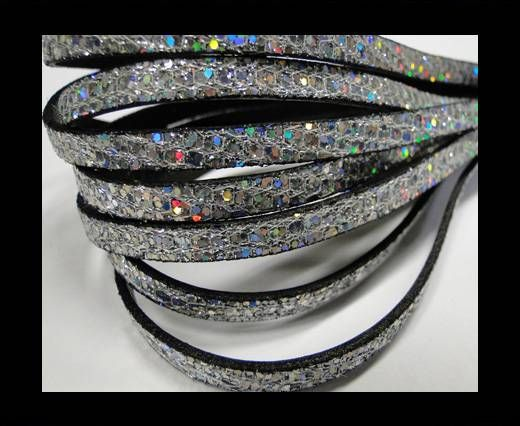 Real Nappa Leather - Silver -Glitter Style -5mm