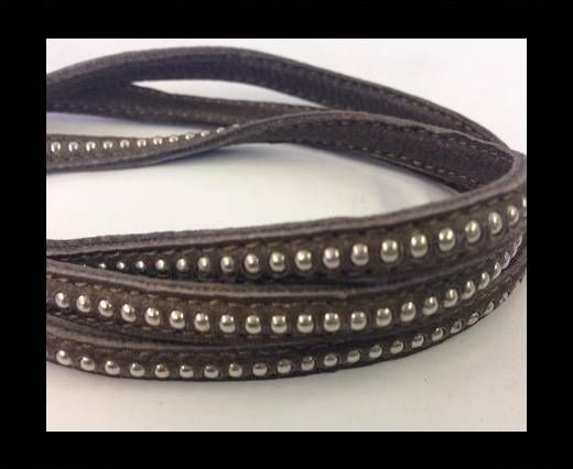 Real Nappa leather with silver plated ball chains-6mm-Dark taupe