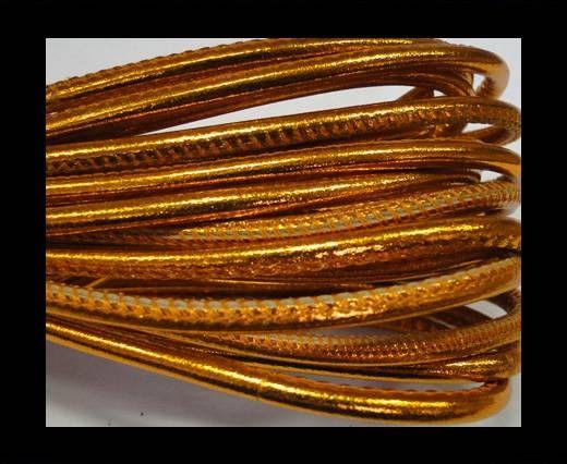 Real Nappa Round-Plain Styles-4mm-Metallic orange