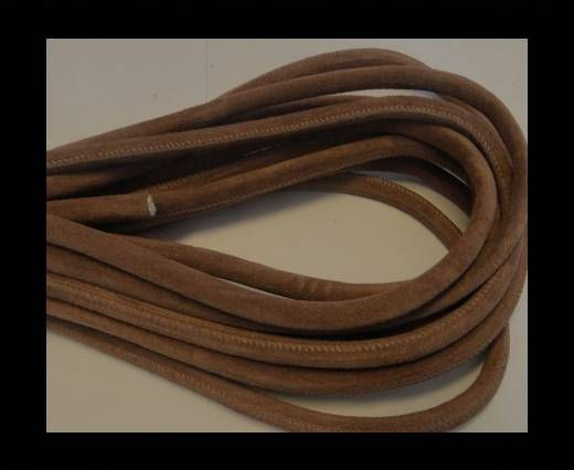 Round stitched nappa leather cord Light Brown-4mm