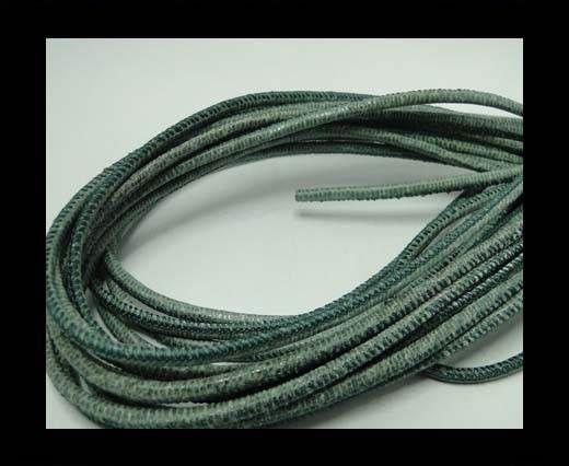 Round stitched nappa leather cord Lizard Prints-Salvia Lizard- 2.
