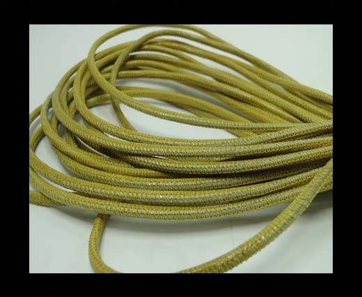 Real Round Nappa Leather cords - Lizard Prints-Yellow Lizard- 2.