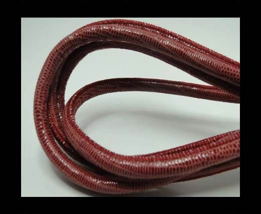 Real Round Nappa Leather cords - Lizard Prints -Red Lizard- 6mm