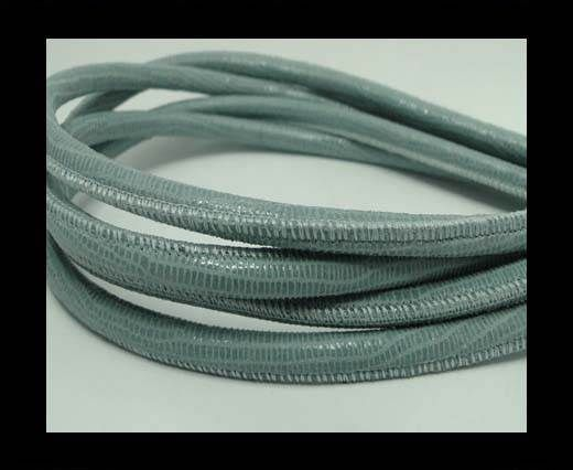 Real Round Nappa Leather cords - Lizard Prints -Pastel Blue Liza