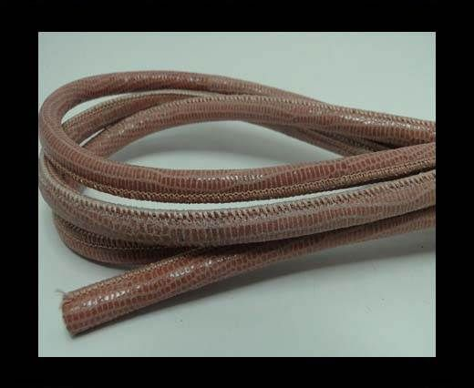 Real Round Nappa Leather cords - Lizard Prints -Salmon Lizard- 6