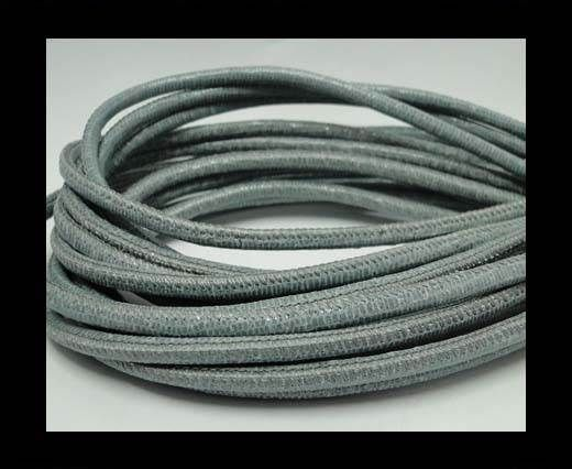 Real Round Nappa Leather cords-Lizard Prints-Light Grey Lizard-