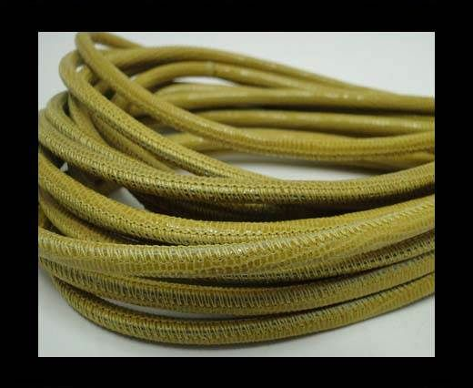 Real Round Nappa Leather cords-Lizard Prints-Yellow Lizard- 4mm