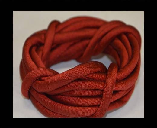 Real silk cords with inserts - 4 mm - Red wine