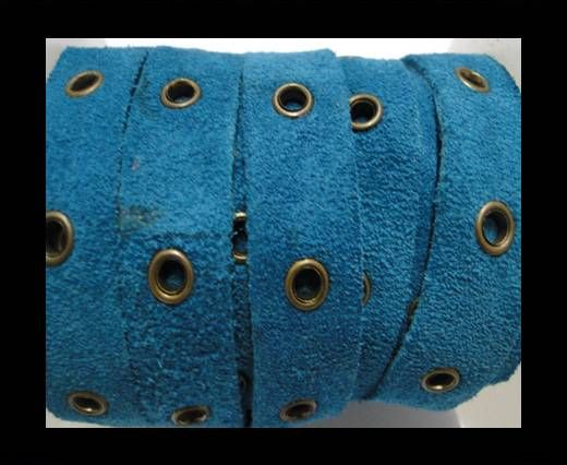 Real Suede Leather with Rivet -Turquoise -10mm