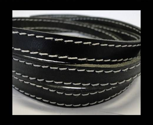 Real Vegetable Tanned Leather with stitch -10mm-Black