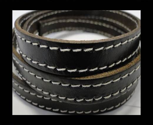 Real Vegetable Tanned Leather with stitch -10mm-SE-VT-Brown