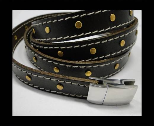 Real Vegetable Tanned Leather with stitch -14mm-Brown 1