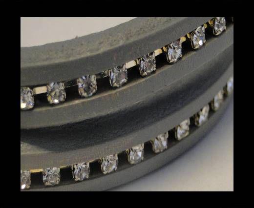 Cuir Regaliz avec cristaux - Gris