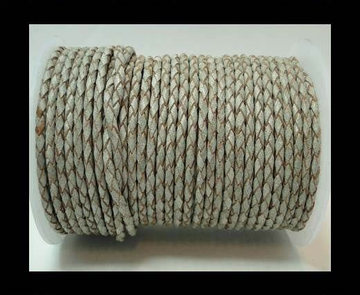 Round Braided Leather Cord-3mm- SE Light Grey
