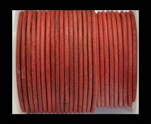Round Leather Cord 4mm-Vintage Red