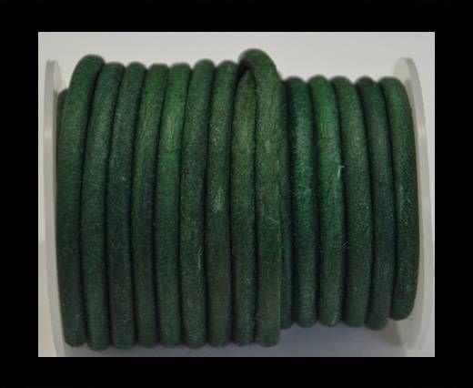 Cordon cuir Rond - Vintage Vert - 5 mm