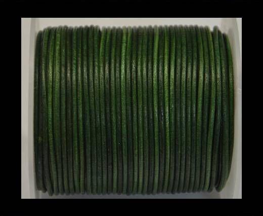 Cordon Cuir Rond- Vintage Vert Fougère - 2 mm