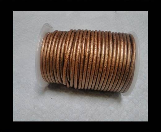 Cordon cuir Rond - Marron Métallique- 4mm