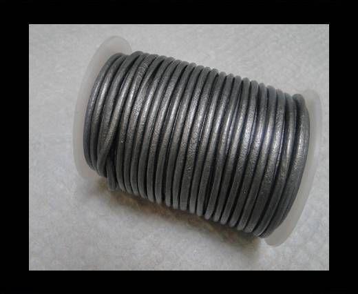 Cordon cuir Rond -Gris Métallique- 4mm
