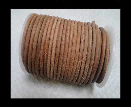 Cordon cuir Rond -Naturel Foncé Poilu - 4mm