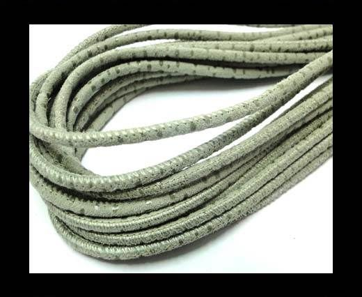 Round leather cord Stitch-3mm-Spyral Style Grey