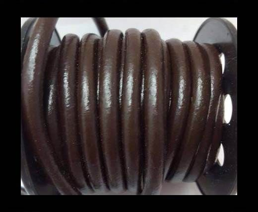 Cordon cuir Rond - Café- 5 mm