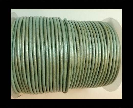 Round Leather Cord 1,5mm - METALLIC PASTEL BLUE