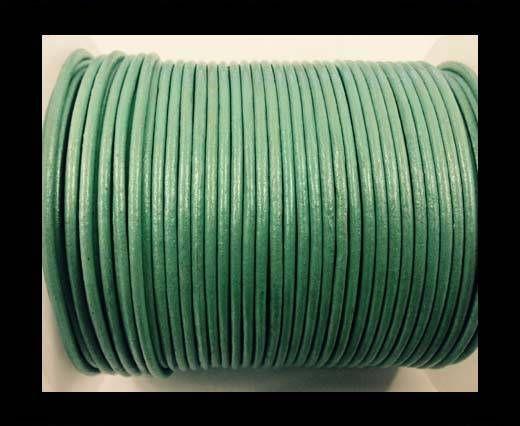 Cordon cuir Rond - Vert Pastel Métallique- 2mm