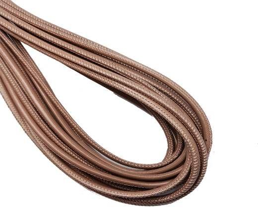 Round Stitched Nappa Leather Cord-4mm-salmon