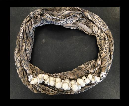 Scarf With Beads Style1-Leopard