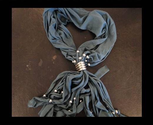 Scarf With Beads Style4-Blue