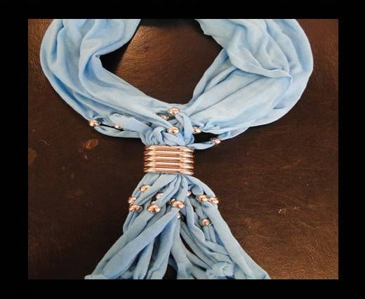 Scarf With Beads Style4-Turquoise