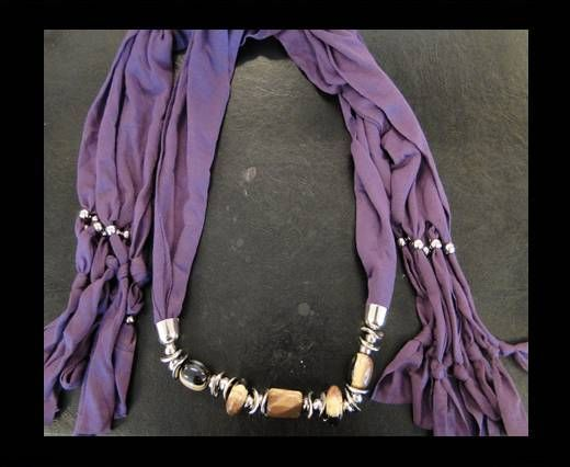 Scarf With Beads Style12-Purple