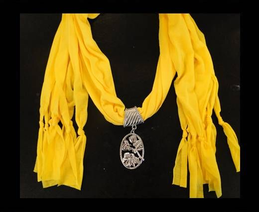 Scarf With Beads Style14-Yellow