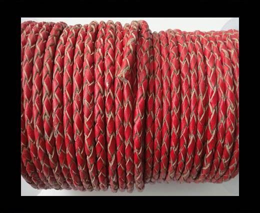 Cordon cuir tressé - SE/B/06 - Rouge - Naturel  - 5mm